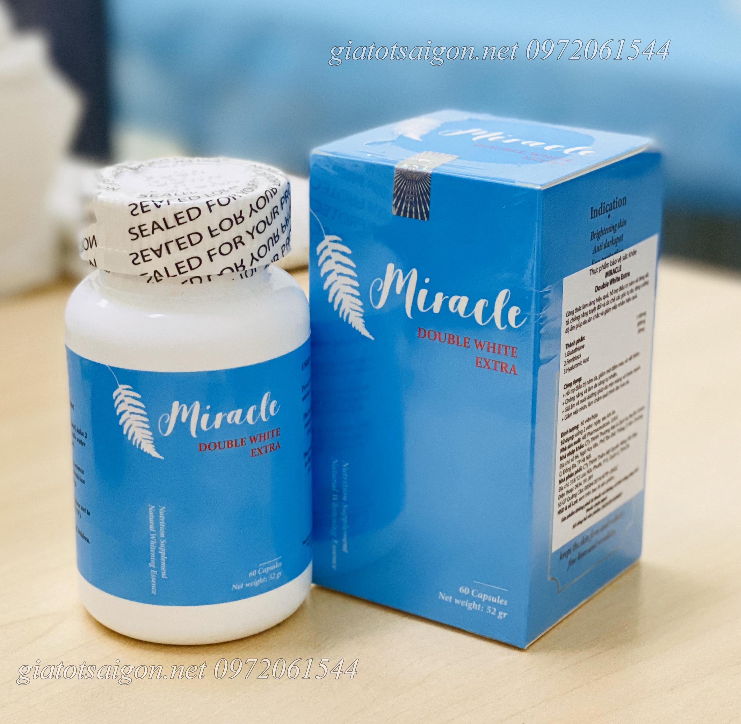 Viên uống chống nắng dưỡng da Miracle double white extra